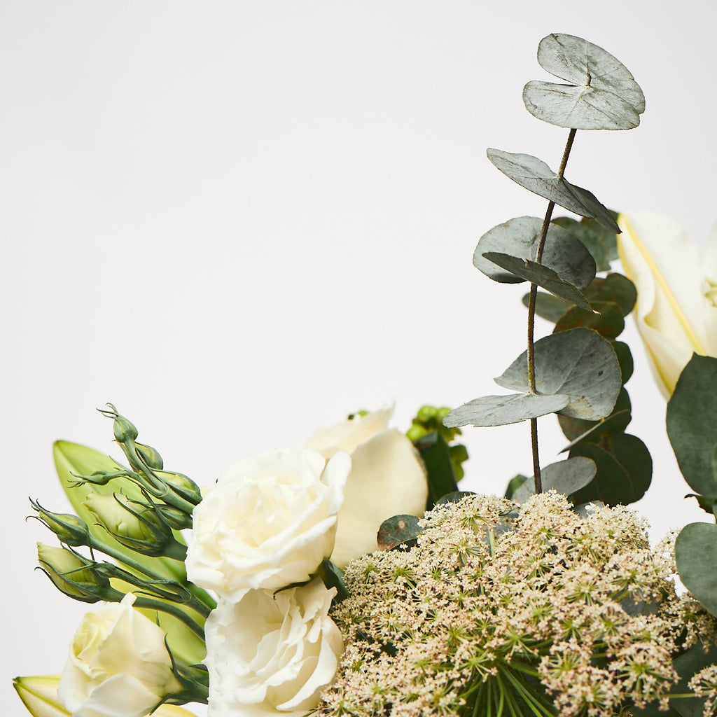 Our Emmeline (White hydrangea / Dill / Stocks / Roses / Lilies / Lisianthus / Eucalyptus)