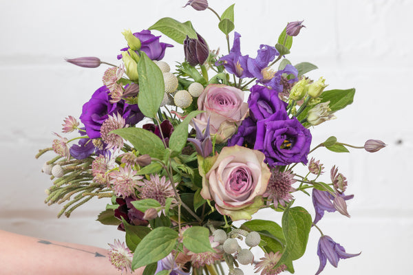 The Purple One (Roses / Clematis / Anemones / Astrantia / Purple Lisianthus)