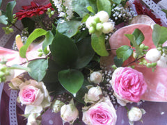 Close up anthurium and roses in pink