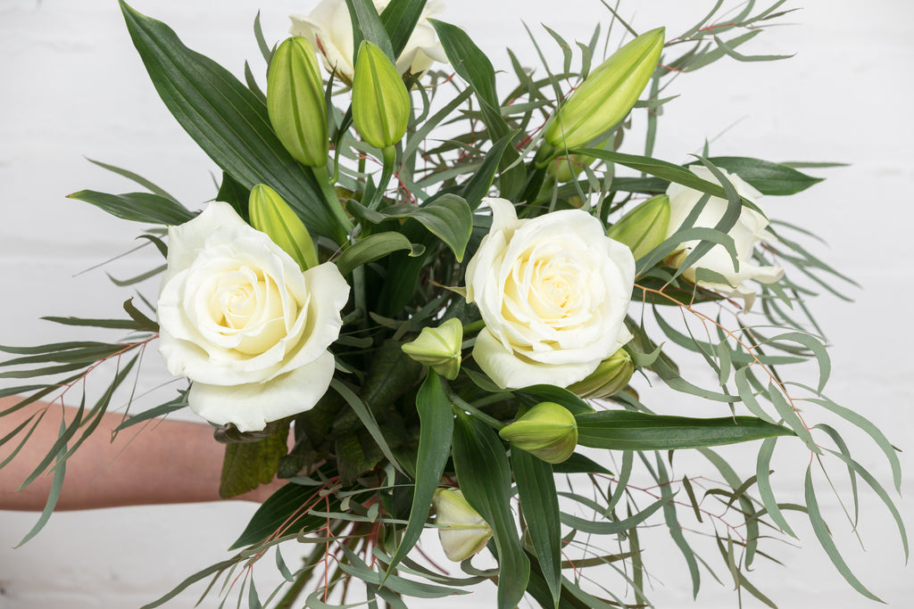 Classic Lilies & Roses — White (White Roses / White Oriental Lilies)