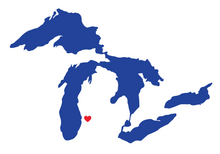 Great Lakes Heart Location Sticker (Multiple Colors)
