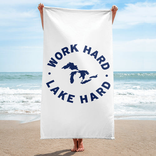 Work Hard Lake Hard Beach Towel
