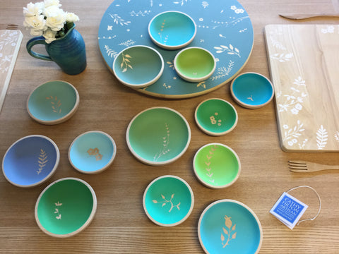 Cathy Hilton Artisan Hand Painted Woodware Beech Dishes