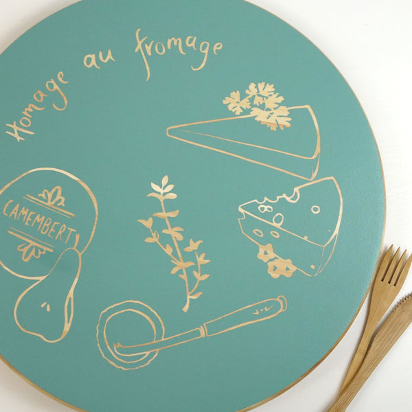 Cathy Hilton Artisan Hand Painted Woodware Cheeseboard Homage au Fromage