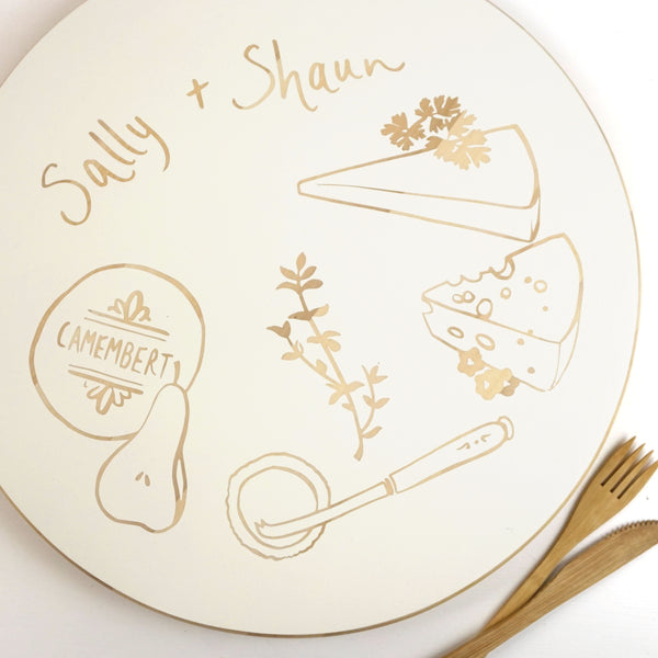 Cathy Hilton Artisan Hand Painted Woodware Personalised Cheeseboard
