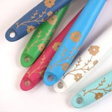 Cathy Hilton Artisan Hand Painted Woodware Salad Servers Lace Flowers
