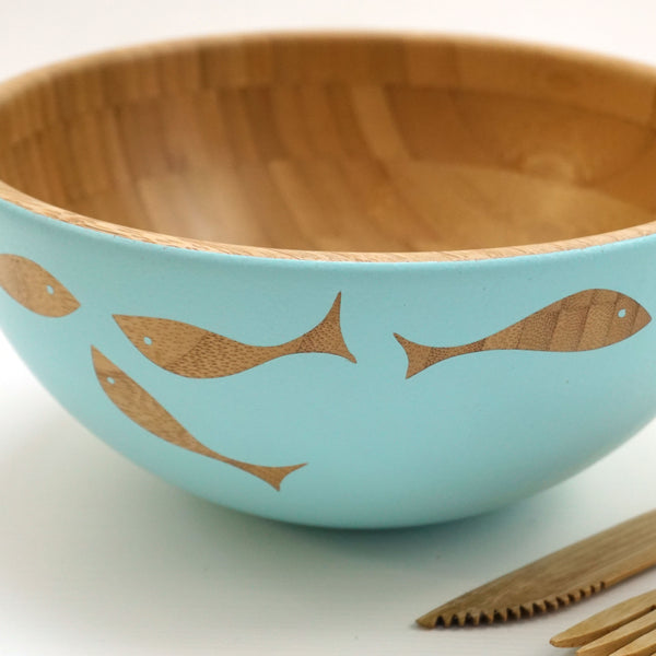 Cathy Hilton Artisan Hand Painted Woodware Medium Bamboo Serving Bowl Shoal