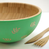 Cathy Hilton Artisan Hand Painted Woodware Medium Bamboo Serving Bowl Fern