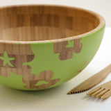 Cathy Hilton Artisan Hand Painted Woodware Medium Bamboo Serving Bowl Bloom