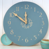 Hand Painted Wooden Clock ~ Wreath Design