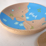 Personalised Child's Hand Painted Beech Wood Dish