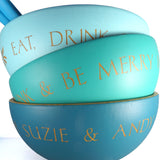 Large Hand Painted Bamboo Serving Bowl ~ Personalised ~ Eat Drink & Be Merry