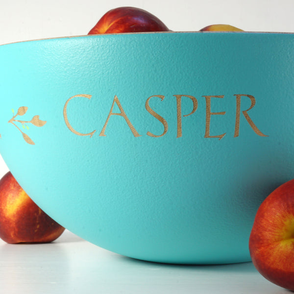 Large Hand Painted Bamboo Serving Bowl ~ Personalised with people's names