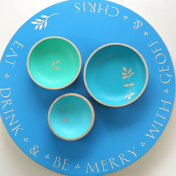 Personalised Lazy Susan with set of three dishes
