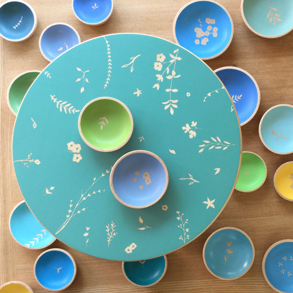 Hand Painted Wooden Lazy Susan ~ Hedgerow Design
