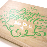 Cathy Hilton Artisan Hand Painted Woodware Snack Board Bon Appetit