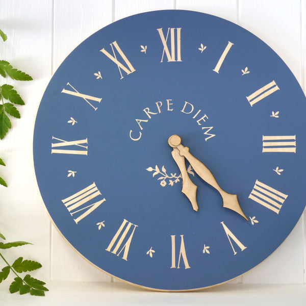 Cathy Hilton Artisan Hand Painted Woodware Clock Carpe Diem
