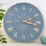 Cathy Hilton Artisan Hand Painted Woodware Clock Personalised for Wedding or Anniversary