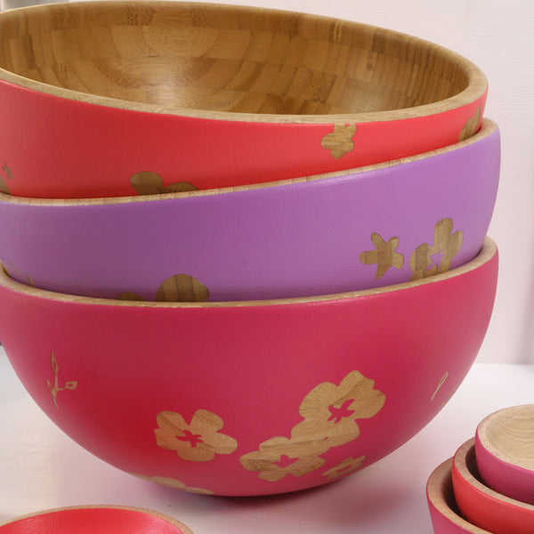 Cathy Hilton Artisan Hand Painted Woodware Large Bamboo Bowl Bloom