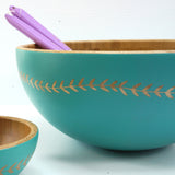 Cathy Hilton Artisan Hand Painted Woodware Large Bamboo Serving Bowl Leaf Edge