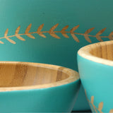 Cathy Hilton Artisan Hand Painted Woodware Medium Bamboo Serving Bowl Leaf Edge