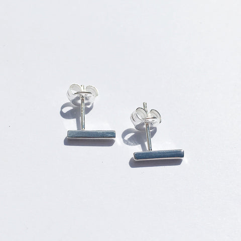 Bar Earrings - Medium - Silver
