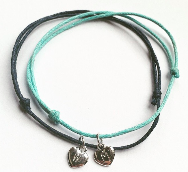 String Bracelet with Hand Stamped Charm