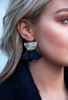 Large Gold & Black Tassel Earrings