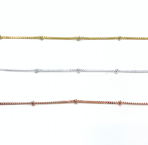Seed Fine Chain Necklace - Silver / Gold / Rose Gold