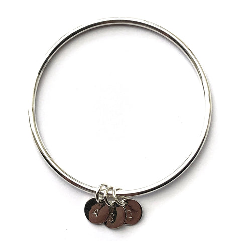 3mm Bangle with Hand Stamped Initial Discs