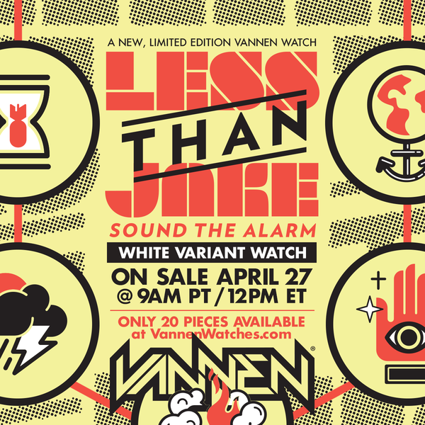 "Limited edition Less Than Jake ""Sound The Alarm"" white color variant Vannen Artist Watch on sale Friday, April 27"