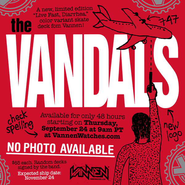 "The Vandals ""Live Fast, Diarrhea"" red variant skate deck available on Sept 24"