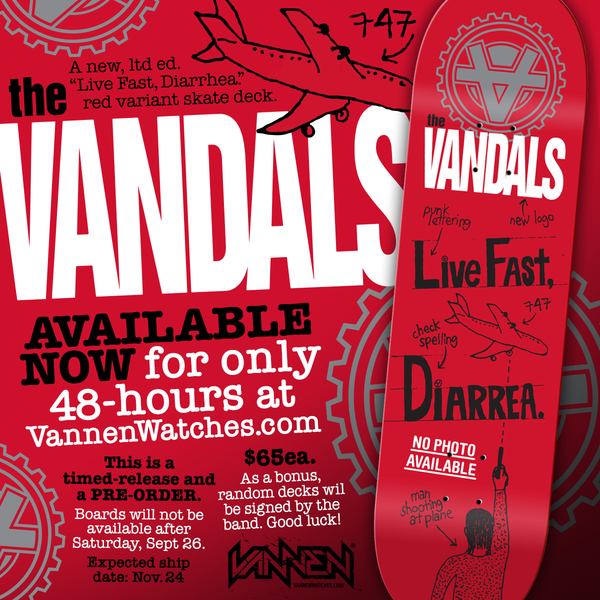 "On sale now: The Vandals ""Live Fast, Diarrhea"" Red Variant Skate Deck."