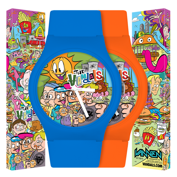 "The Vandals new, limited edition Orange and Blue ""Anarchy Burger"" Watches now available for purchase!"
