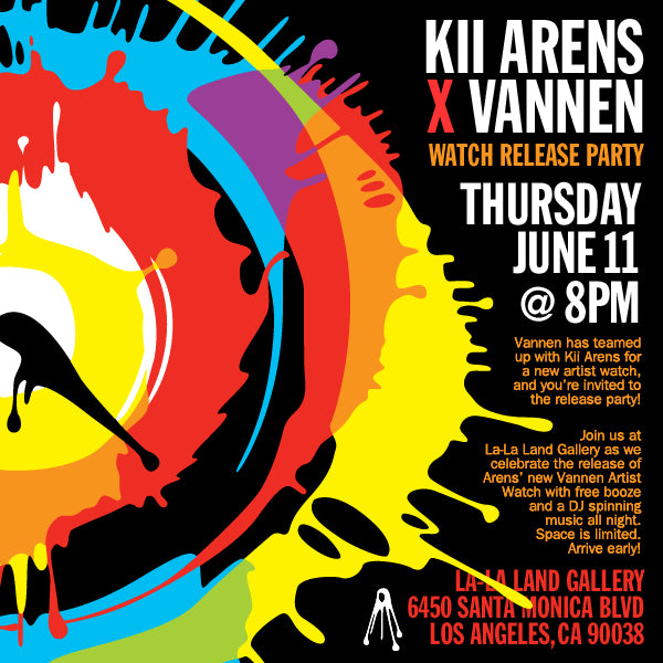 Kii Arens Vannen Artist Watch Release Party Invite
