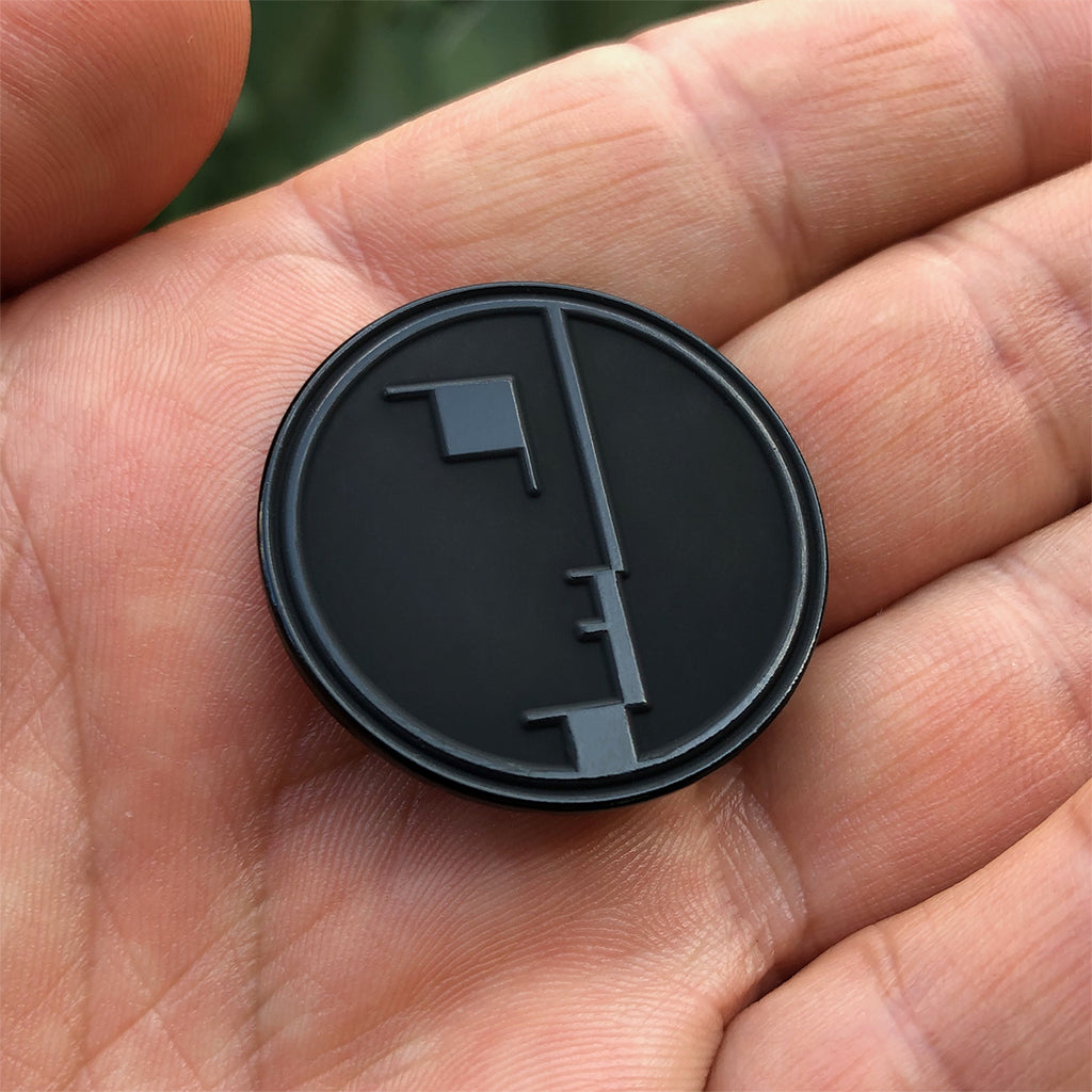 Bauhaus black on black enamel pin