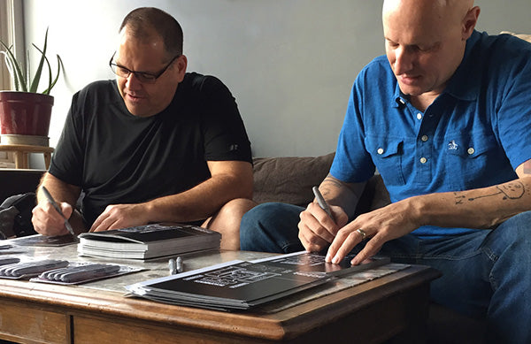 Bill Stevenson and Stephen Egerton signing Descendents Vannen Artist Watch Packaging