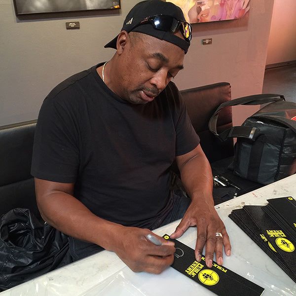 Chuck D signing Public Enemy Vannen Watches packaging