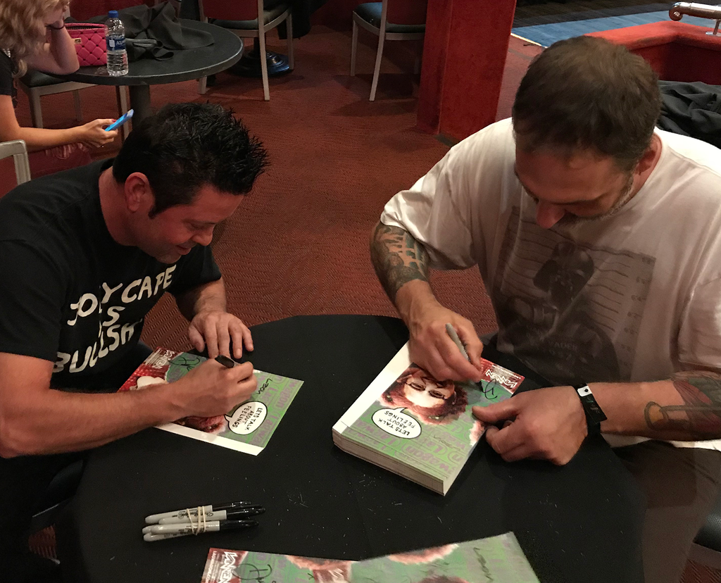 "Lil Joe and Dave Raun signing Lagwagon ""Let's Talk About Feelings"" Vannen Watch Packaging"