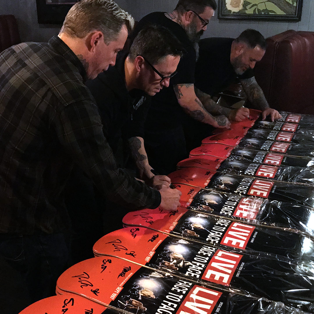 "Face to Face signing ""LIVE"" skateboard decks"
