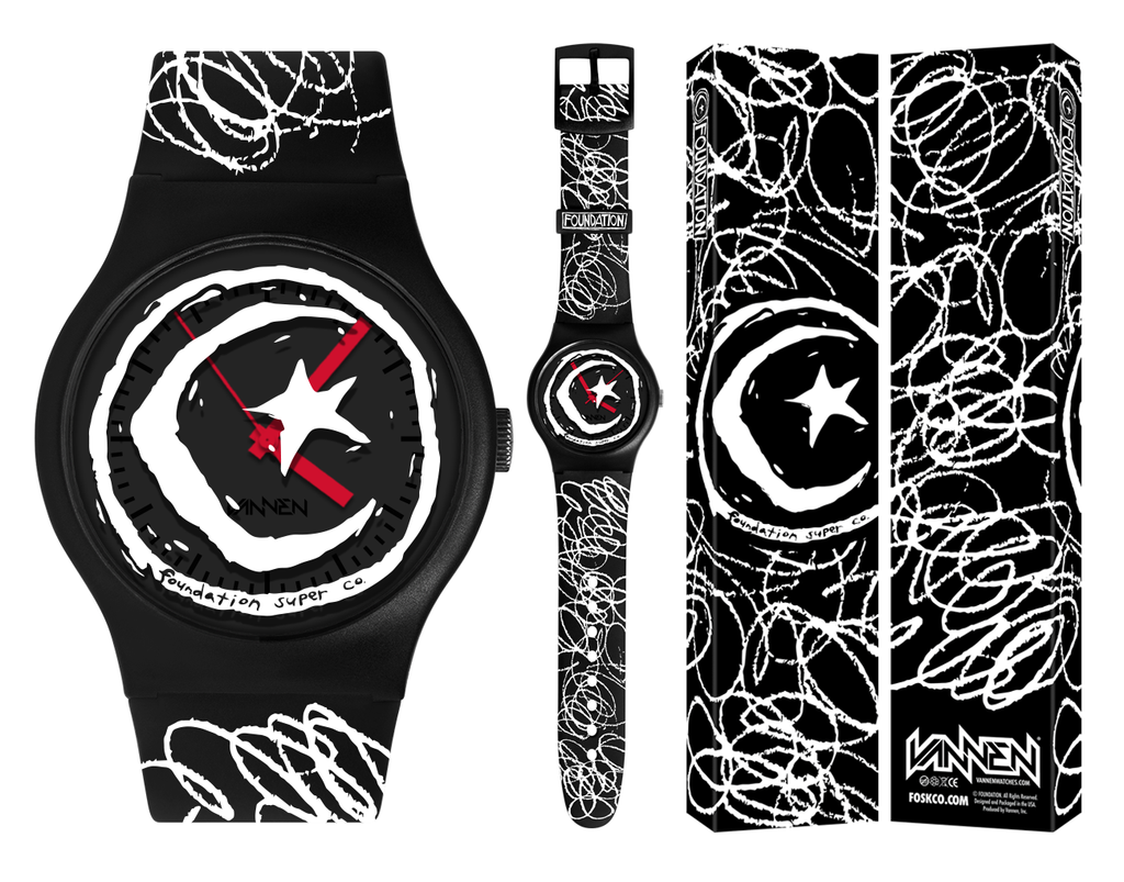 Foundation Skateboard Co. x Vannen watch and packaging