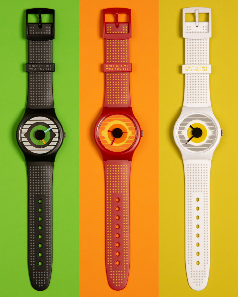 Invisible Creature x Vannen black, red, and white watches