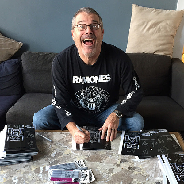 Milo Auckerman signing Descendents Vannen Artist Watch Packaging