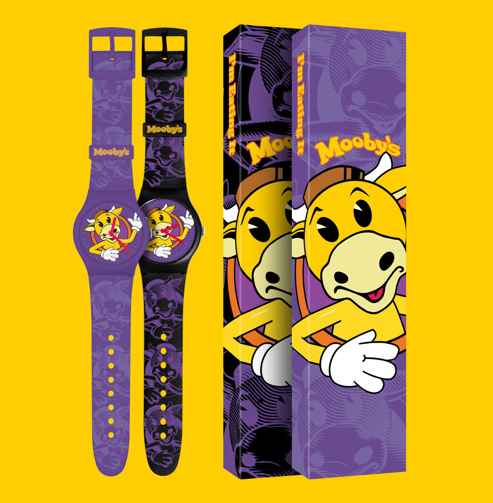Mooby's black and purple Vannen watches with packaging