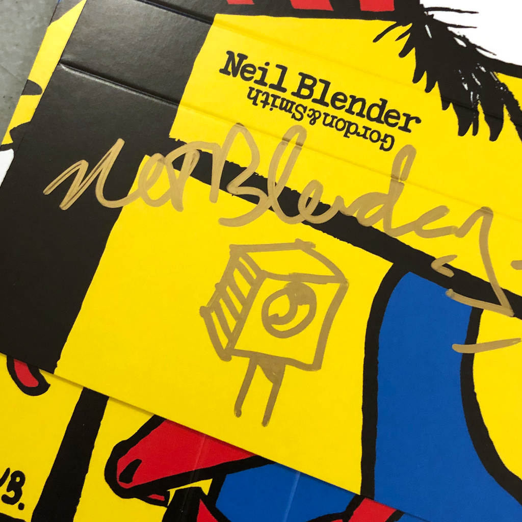 """Close up photo of """"Rocking Dog"""" watch packaging signed by Neil Blender."""