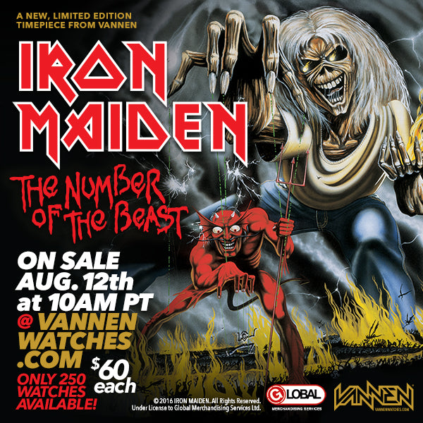 "Limited Edition Iron Maiden ""The Number of the Beast"" Vannen Watch on Sale August 12th"