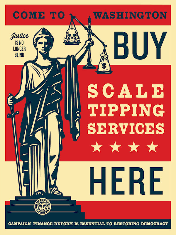 Shepard fairey releases new scale tipping print at