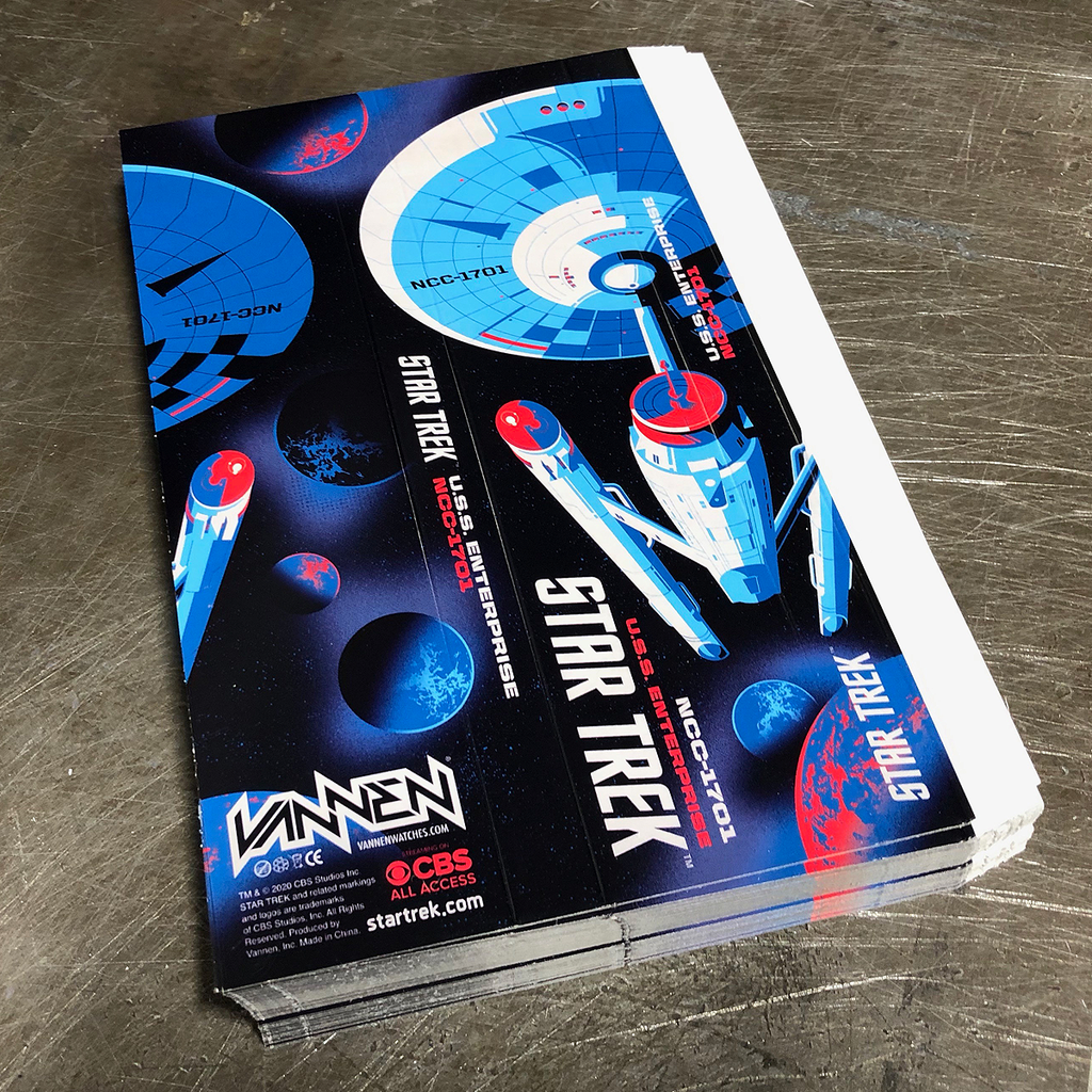 Fresh cut Star Trek grey watch packaging