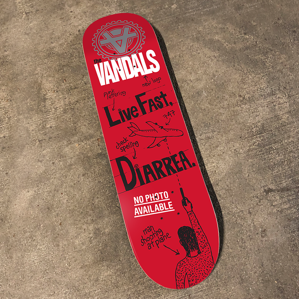 """The Vandals """"Live Fast, Diarrhea"""" red variant skate deck."""