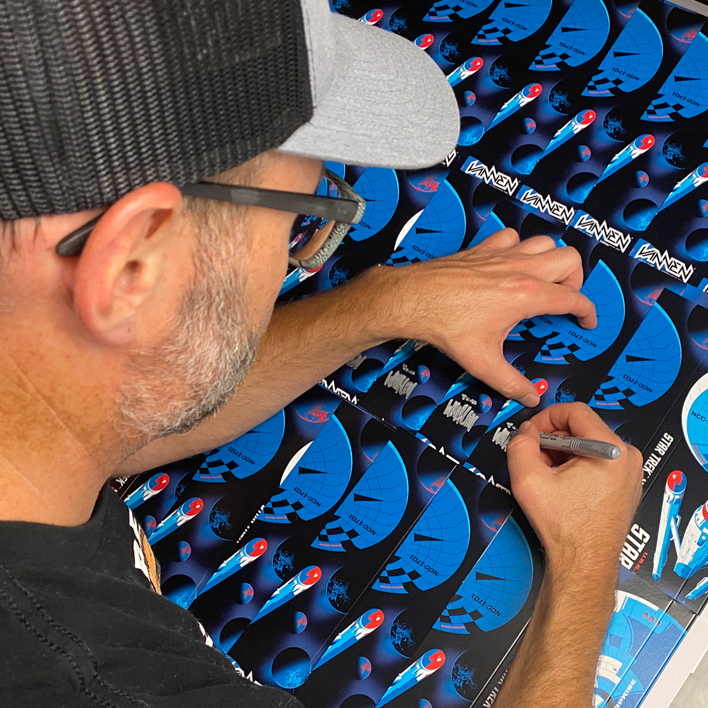 Tom Whalen signing Star Trek black variant watch packaging